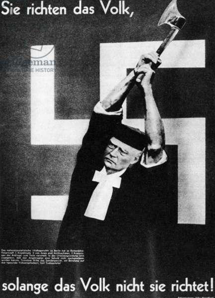 Heartfield photomontage on justice in Nazi Germany, 1936 (b/w photo)
