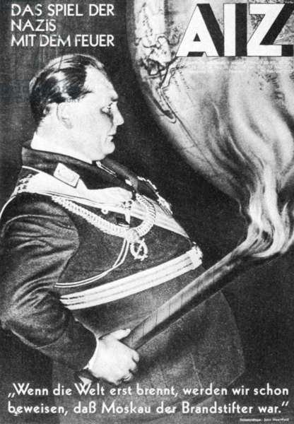 Arbeiter Illustriete Newspaper with the reichtag fire as topic, 1933 (b/w photo)