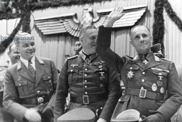 Erich Hilgenfeldt, Wilhelm Keitel, Erwin Rommel, 1942 (b/w photo)