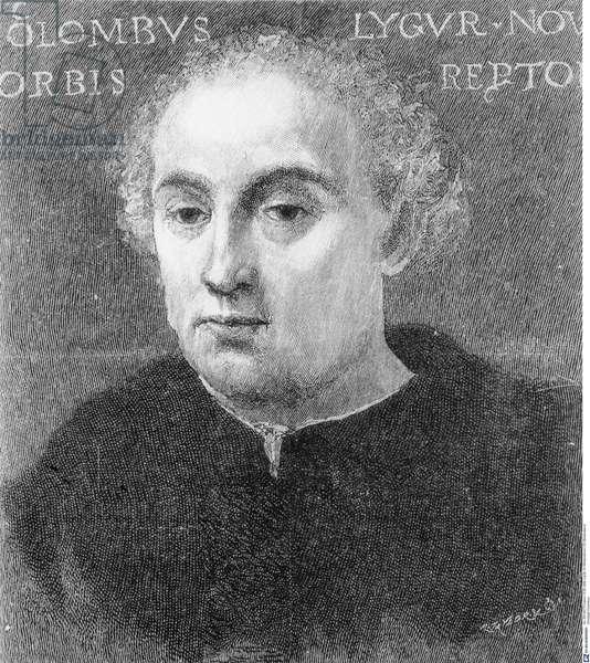 Portrait of Christopher Columbus (b/w photo)