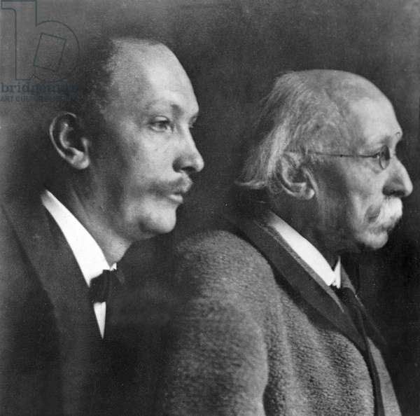 The composer and conductor Richard Strauss, with his father, Franz Strauss (b/w photo)