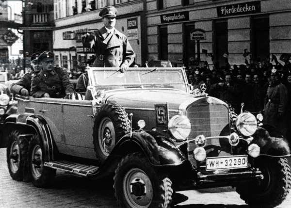 Adolf Hitler in Linz, 1938 (b/w photo)
