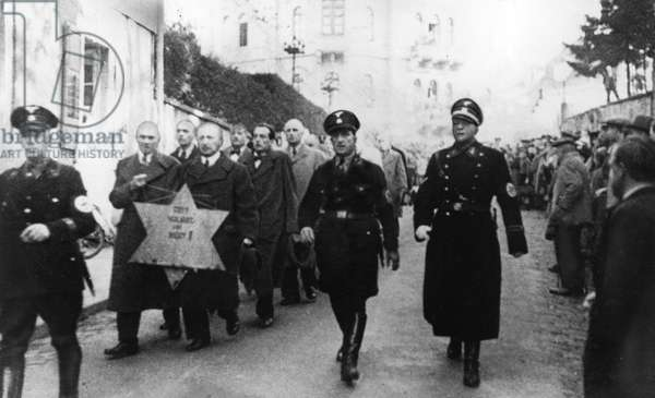 The Jewish pogrom in Baden-Baden following the Kristallnacht, Germany, 10th November 1938 (b/w photo)