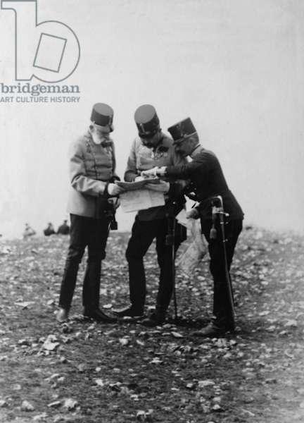 Emperor Franz Joseph I and Archduke Franz Ferdinand during an imperial maneuver 1908 (b/w photo)