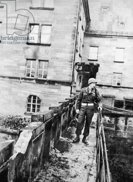 Guardsmen in the Nuremberg prison during the Nuremberg Trials, 1946 (b/w photo)