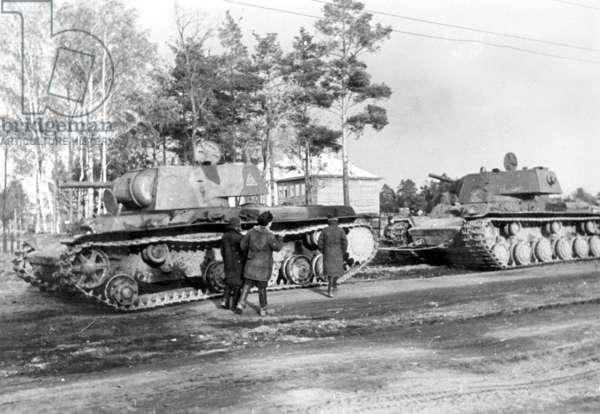 Russian KW 1 tanks, 1941 (b/w photo)