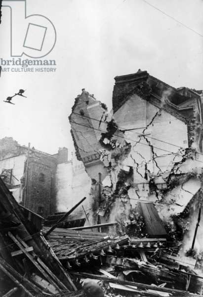 Buildings bombed during the Battle of Britain, London, 1940 (b/w photo)