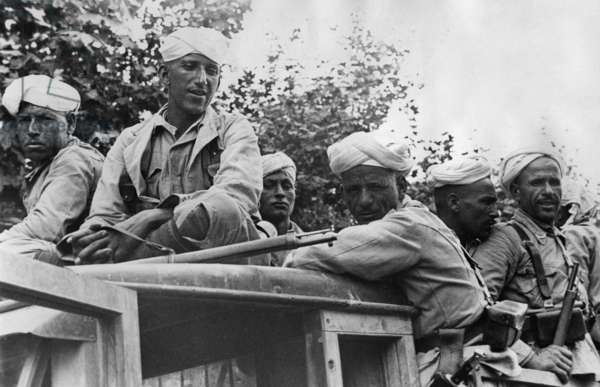 Moroccan soldiers during the Spanish Civil War, 1936