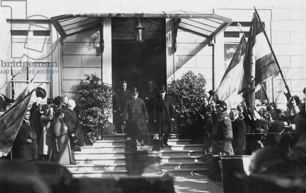 Konrad Adenauer and Paul von Hindenburg during the celebrations of the emancipation of the Rhineland, 1926 (b/w photo)