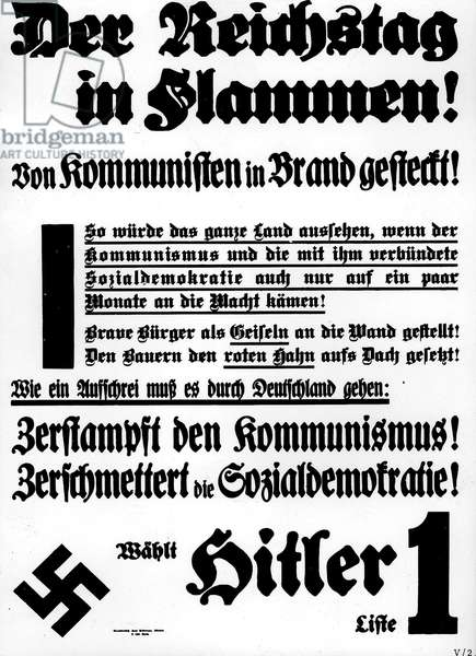 Election poster of the NSDAP for the Reichstag election, 1933 (b/w photo)