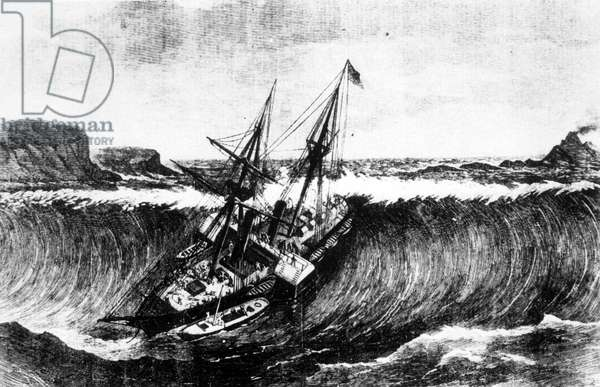 Sinking of a ship by a tsunami in 1867