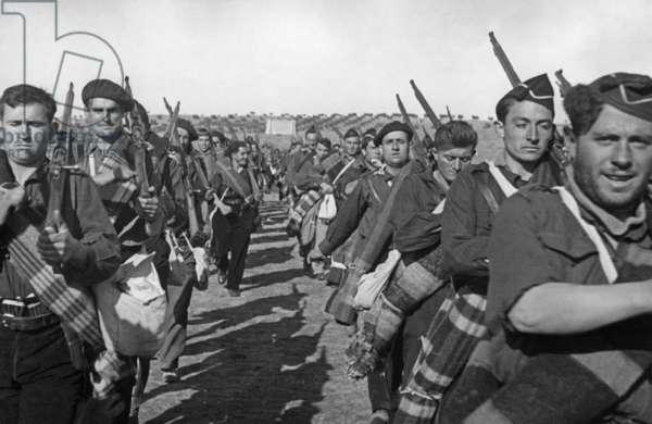 Falangists training in the Spanish Civil War, 1937