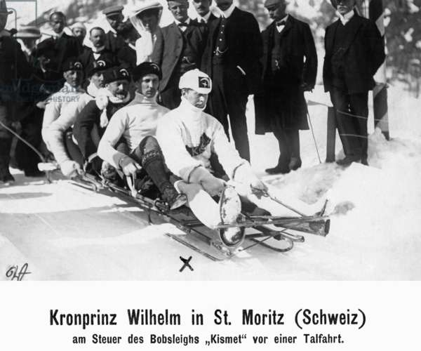 Crown Prince Wilhelm of Prussia doing winter sports in St. Moritz, 1907
