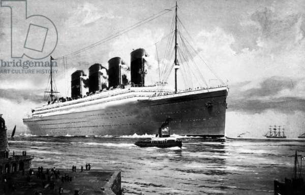 Drawing of the Titanic departing on her maiden voyage
