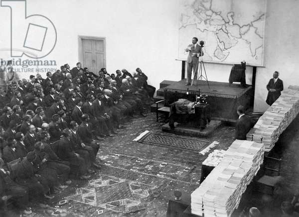 King Amanullah Khan speaks before the State Council, Kabul, Afghanistan, 1928 (b/w photo)