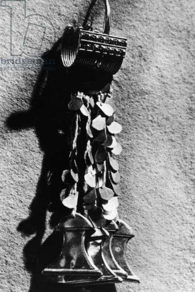 Replica of Priam's Treasure, found by Heinrich Schliemann at Troy, 1900 (b/w photo)