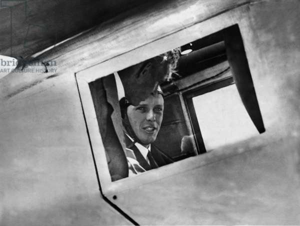 Henry Ford and Charles Lindbergh in the 'Spirit of St. Louis', 1927 (b/w photo)