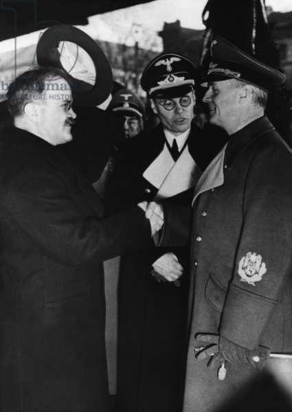 Vyacheslav Molotov and Joachim von Ribbentrop, 1940 (b/w photo)