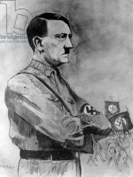 Painting of Adolf Hitler by Albrecht von Urach, 1932 (b/w photo)