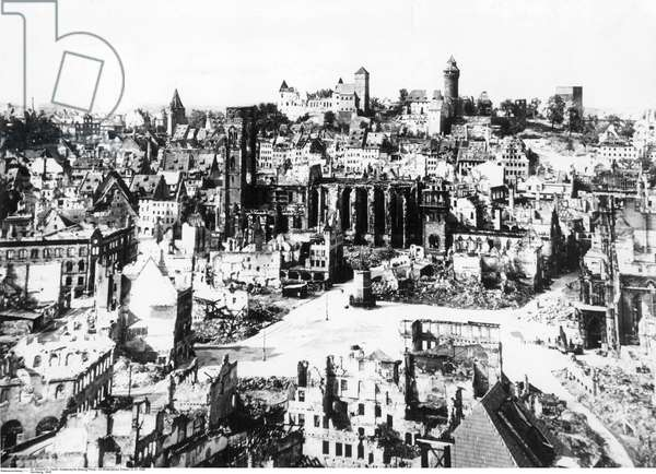 View of Nuremberg's ruined city centre following Allied bombing, Nuremberg, 1945 (b/w photo)