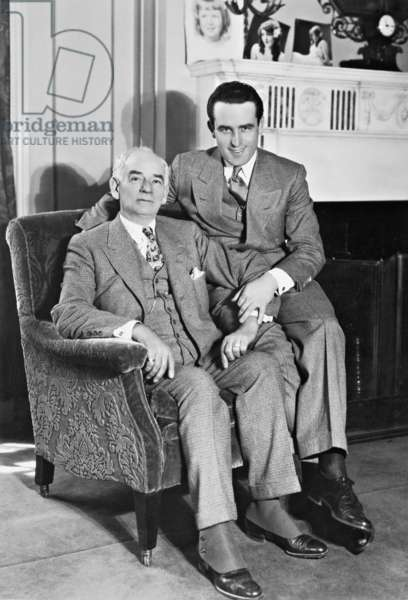 Harold Lloyd and his father (b/w photo)