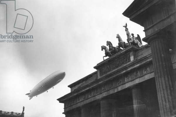 Brandenburg Gate and Zeppelin, Berlin, 1936 (b/w photo)