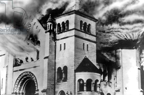 A burning synagogue, during Kristallnacht, Baden-Baden, 9th November 1938 (b/w photo)