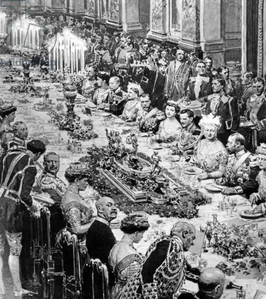 Painting by Prince Wilhelm II on a royal table, 1913 (b/w photo)