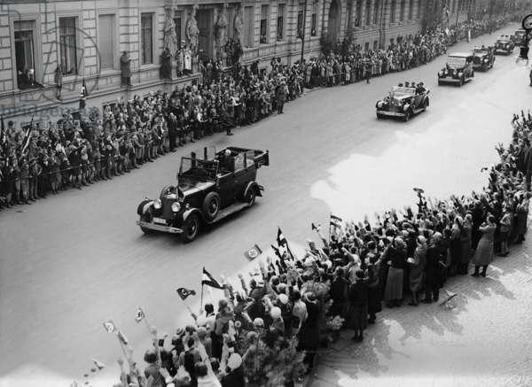 Paul von Hindenburg and Adolf Hitler on the 'Labor Day', 1933 (b/w photo)