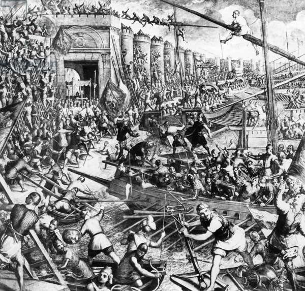 The conquest of Constantinople, 1204 (b/w photo)