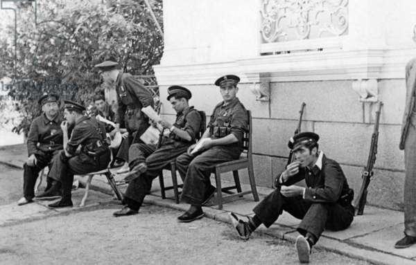 Spanish police guarding the German Embassy in Madrid, 1936