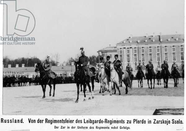 Czar Nicholas II. attending a regiment festivity in Pushkin, 1906 (b/w photo)