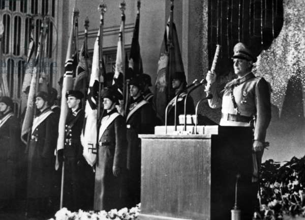 Hermann Goering making a speech about Stalingrad in the Reich Air Ministry in Berlin, 30th January 1943 (b/w photo)