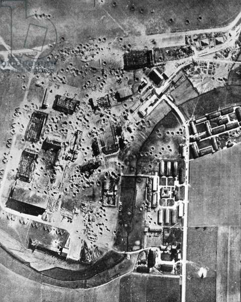 Aerial view of the Focke-Wulf Marienburg plant in East Prussia, 1943 (b/w photo)