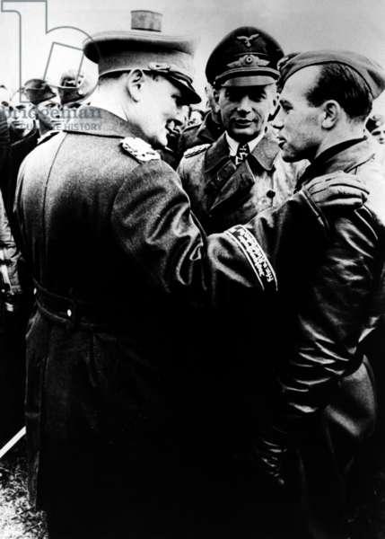 Hermann Göring, Hans Jeschonnek and Helmut Wick, 1940 (b/w photo)