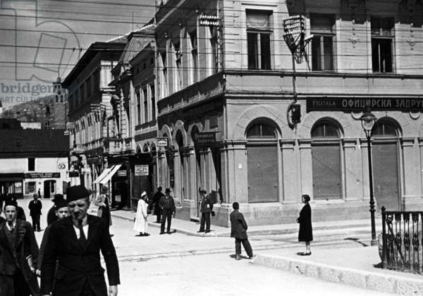 The 'Princip' corner in Sarajevo, 1934 (b/w photo)