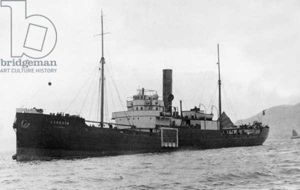 The Russian freighter Selenga in Hong Kong, 1940 (b/w photo)