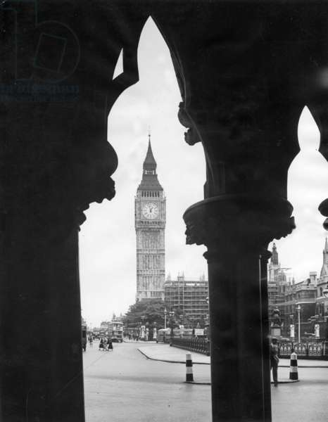 Big Ben in London, 1935 (b/w photo)