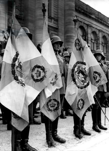 Celebration of Hitler´s regiment during WW I., 1934 (b/w photo)