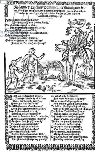 Leaflet on the Dominican monk Johann Tetzel and the indulgences, 1517 (b/w photo)