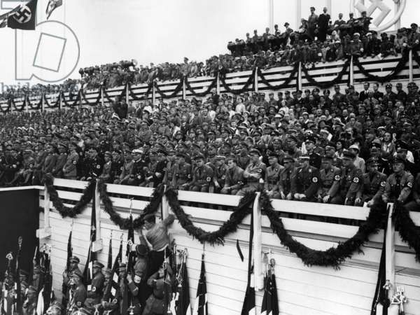 VIP stand on the Day of the Reichswehr at the Nuremberg Rally, 1934 (b/w photo)
