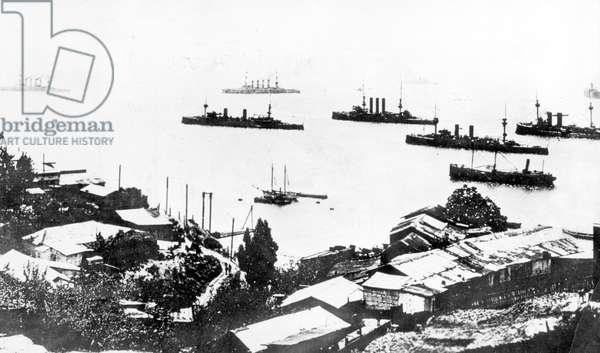 Battle of the Falkland Islands, 1914 (b/w photo)