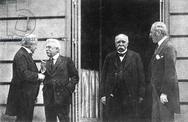 Allied leaders at Versailles: George, Orlando, Clemenceau, Wilson, 1919 (b/w photo)
