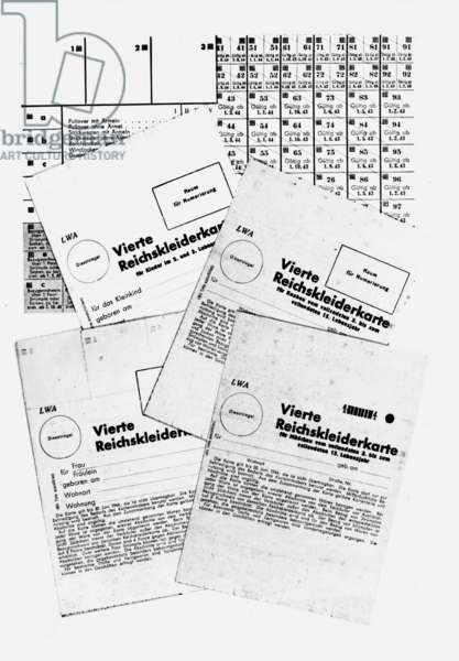 Supply of clothes, substitutes, Reichskleiderkarte (Clothes Ration Coupon Card), 1942 (b/w photo)