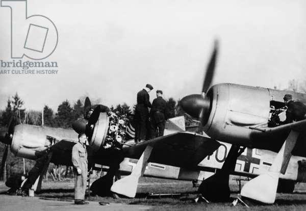 German fighter planes Focke Wulf Fw 190, 1942 (b/w photo)