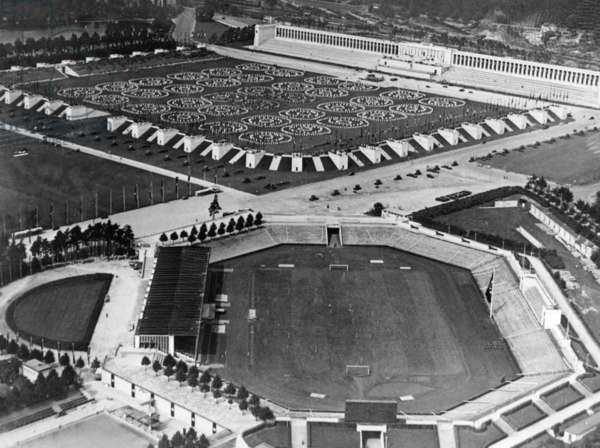The Staedtisches Stadion and the Zeppelin Field in Nuremberg, 1938 (b/w photo)