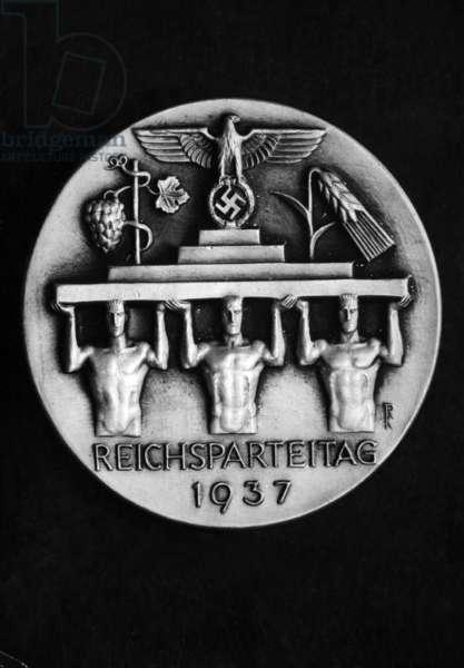 Badge for the Nuremberg Rally, 1937 (b/w photo)