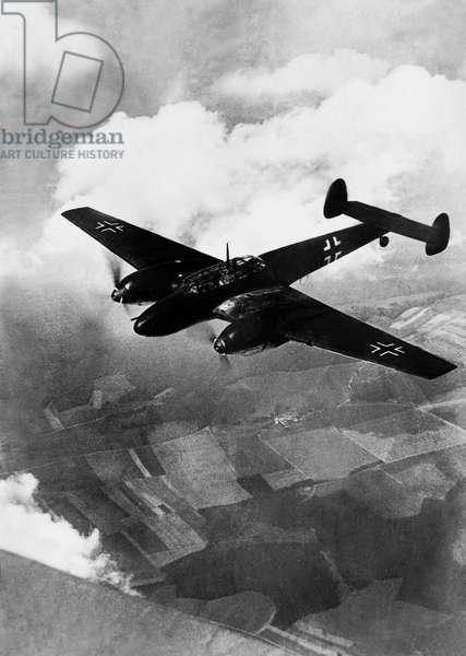 A German Messerschmitt Me 110 fighter plane during the Battle of Britain, 1940 (b/w photo)