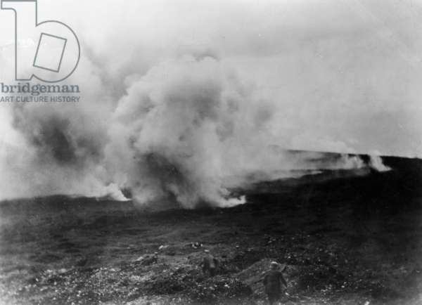 German soldiers using gas, 1918 (b/w photo)