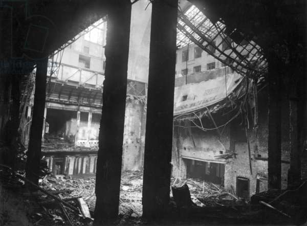 Plenary hall in the burned-out Reichstag, 1933 (b/w photo)